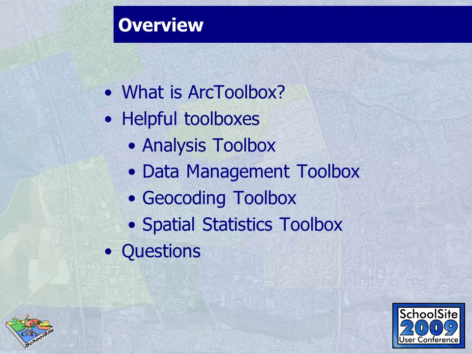 Overview What is ArcToolbox.