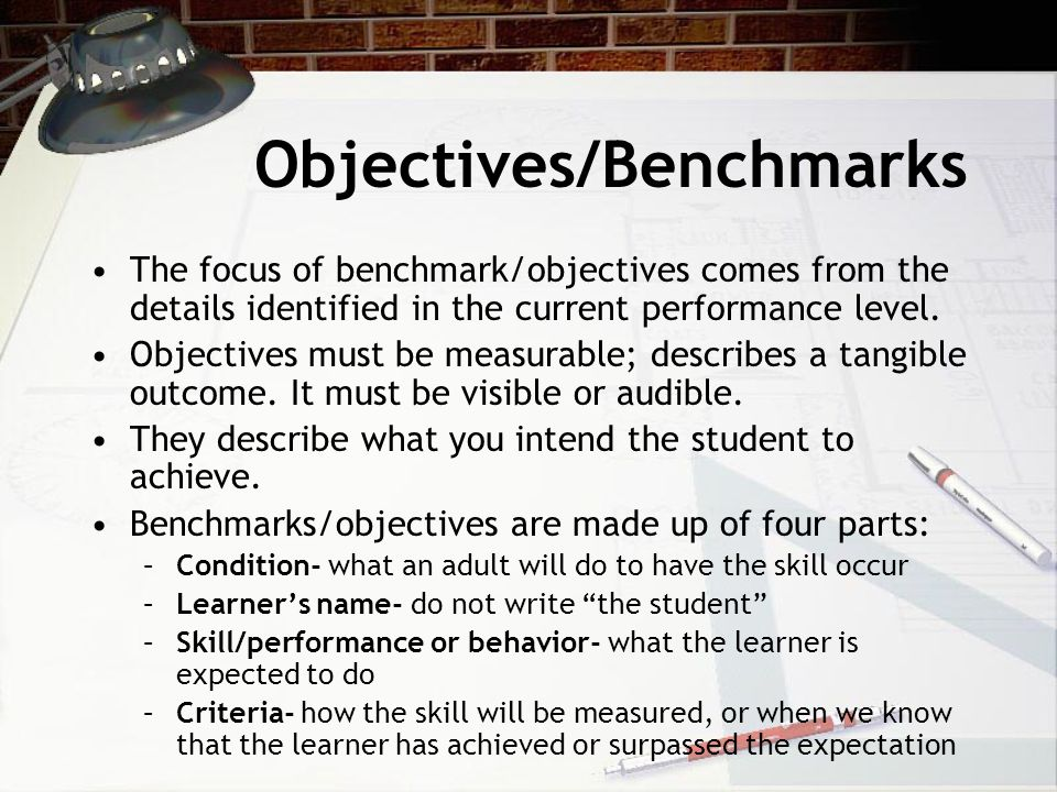 Objectives/Benchmarks The focus of benchmark/objectives comes from the details identified in the current performance level.