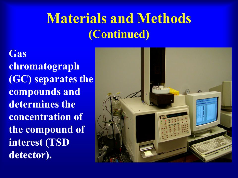 Materials and Methods (Continued) Gas chromatograph (GC) separates the compounds and determines the concentration of the compound of interest (TSD detector).