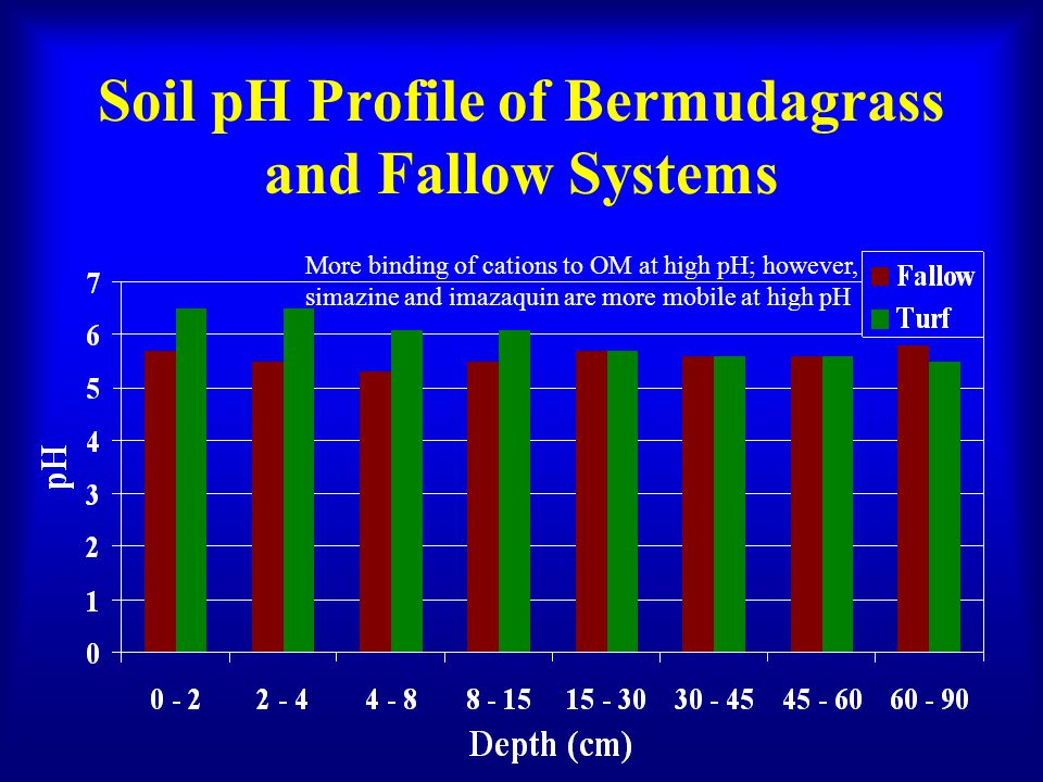 Soil pH Profile of Bermudagrass and Fallow Systems More binding of cations to OM at high pH; however, simazine and imazaquin are more mobile at high pH