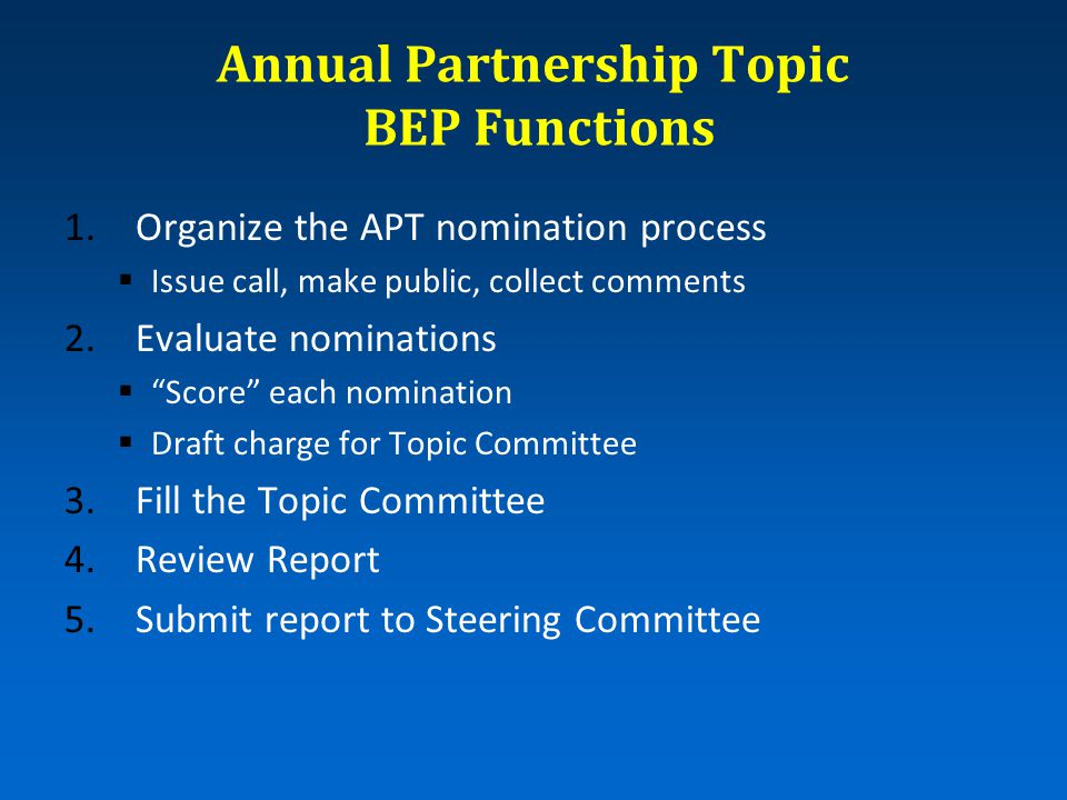 "Annual Partnership Topic BEP Functions 1.Organize the APT nomination process  Issue call, make public, collect comments 2.Evaluate nominations  ""Sco"