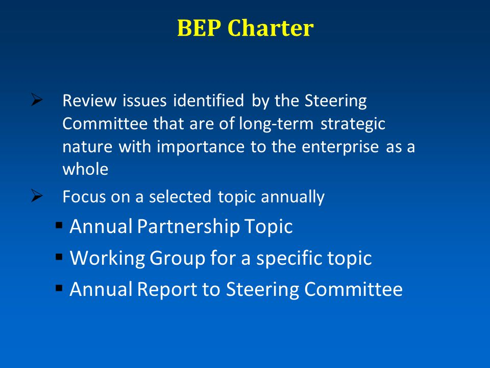 BEP Charter  Review issues identified by the Steering Committee that are of long-term strategic nature with importance to the enterprise as a whole  Focus on a selected topic annually  Annual Partnership Topic  Working Group for a specific topic  Annual Report to Steering Committee
