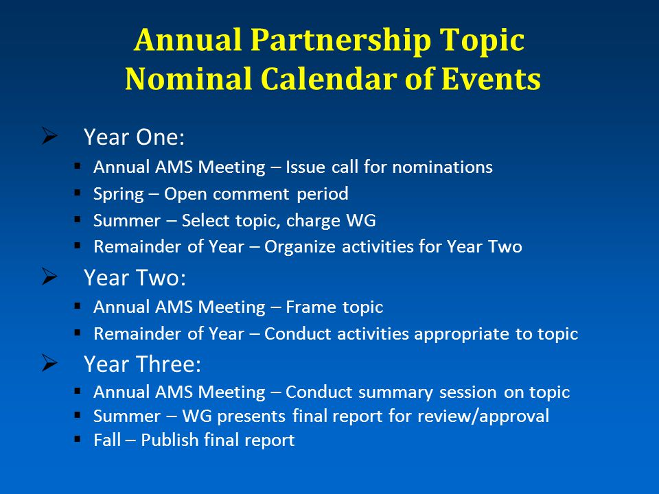 Annual Partnership Topic Nominal Calendar of Events  Year One:  Annual AMS Meeting – Issue call for nominations  Spring – Open comment period  Summer – Select topic, charge WG  Remainder of Year – Organize activities for Year Two  Year Two:  Annual AMS Meeting – Frame topic  Remainder of Year – Conduct activities appropriate to topic  Year Three:  Annual AMS Meeting – Conduct summary session on topic  Summer – WG presents final report for review/approval  Fall – Publish final report
