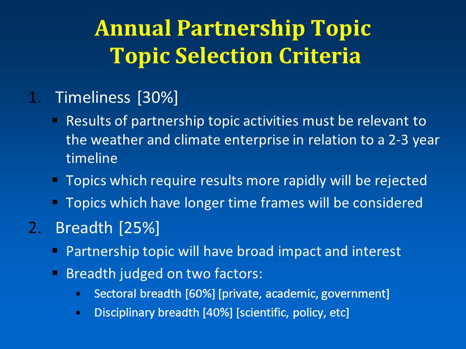 Annual Partnership Topic Topic Selection Criteria 1.Timeliness [30%]  Results of partnership topic activities must be relevant to the weather and cli