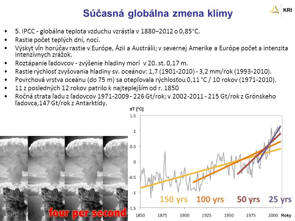 Súčasná globálna zmena klímy 5. IPCC - globálna teplota vzduchu vzrástla v 1880−2012 o 0,85°C.