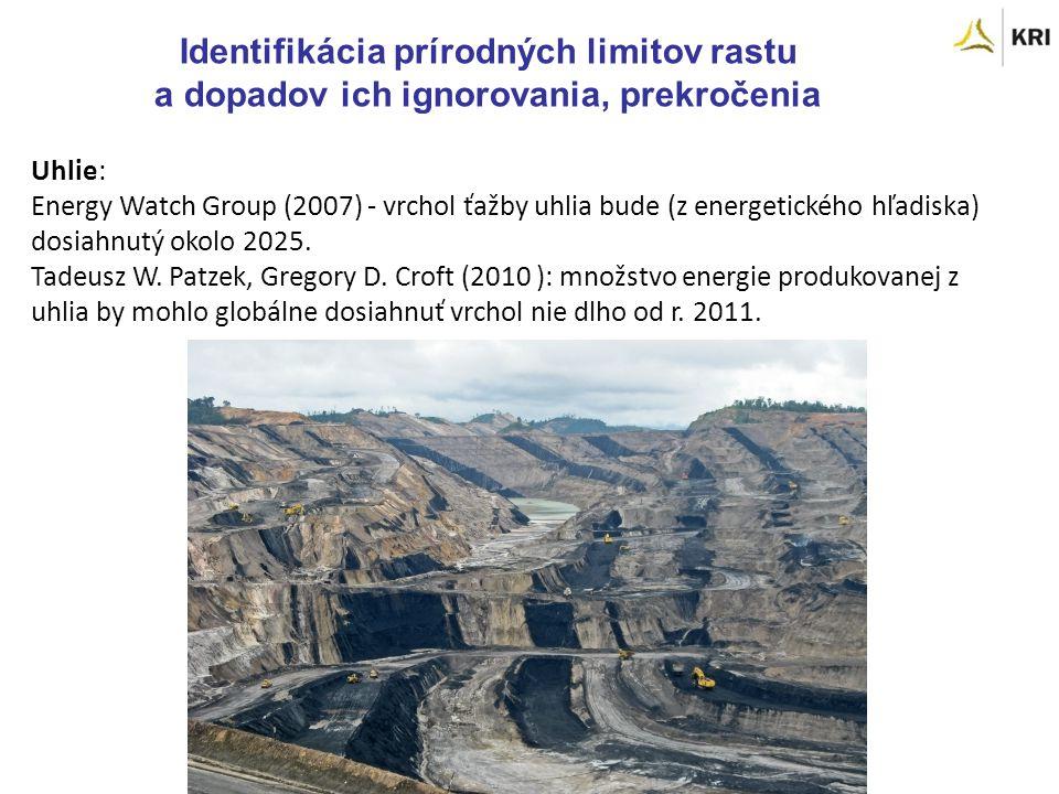 Identifikácia prírodných limitov rastu a dopadov ich ignorovania, prekročenia Uhlie: Energy Watch Group (2007) - vrchol ťažby uhlia bude (z energetického hľadiska) dosiahnutý okolo 2025.