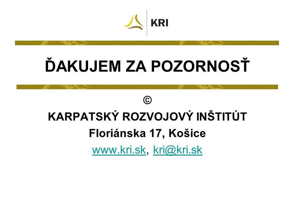 © KARPATSKÝ ROZVOJOVÝ INŠTITÚT Floriánska 17, Košice www.kri.skwww.kri.sk, kri@kri.skkri@kri.sk ĎAKUJEM ZA POZORNOSŤ