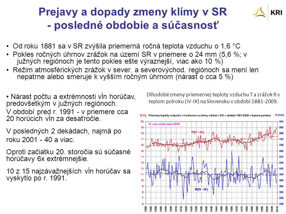 Prejavy a dopady zmeny klímy v SR - posledné obdobie a súčasnosť Od roku 1881 sa v SR zvýšila priemerná ročná teplota vzduchu o 1,6 °C Pokles ročných úhrnov zrážok na území SR v priemere o 24 mm (5,6 %; v južných regiónoch je tento pokles ešte výraznejší, viac ako 10 %) Režim atmosférických zrážok v sever.