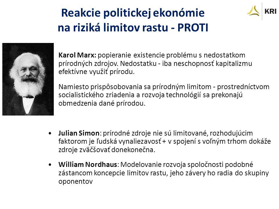 Reakcie politickej ekonómie na riziká limitov rastu - PROTI Karol Marx: popieranie existencie problému s nedostatkom prírodných zdrojov.