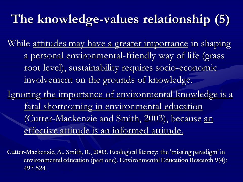 The knowledge-values relationship (5) While attitudes may have a greater importance in shaping a personal environmental-friendly way of life (grass ro