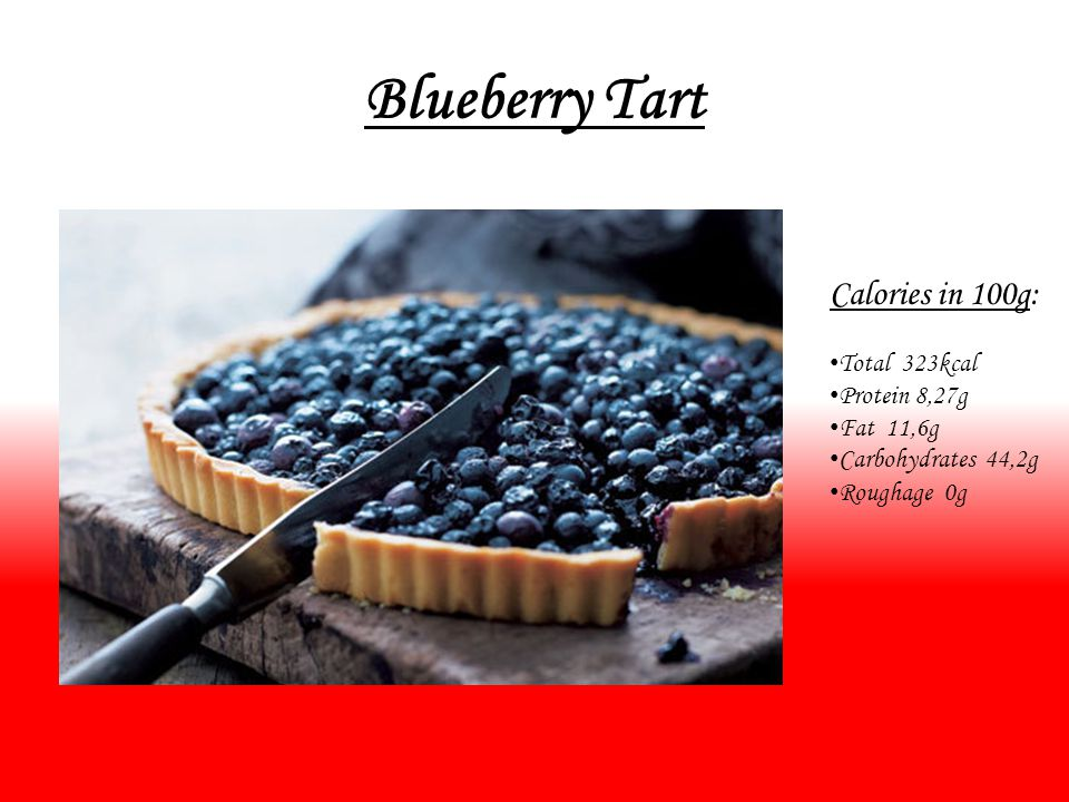 Blueberry Tart Calories in 100g: Total 323kcal Protein 8,27g Fat 11,6g Carbohydrates 44,2g Roughage 0g