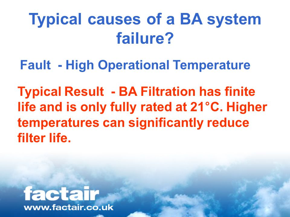 Typical causes of a BA system failure.