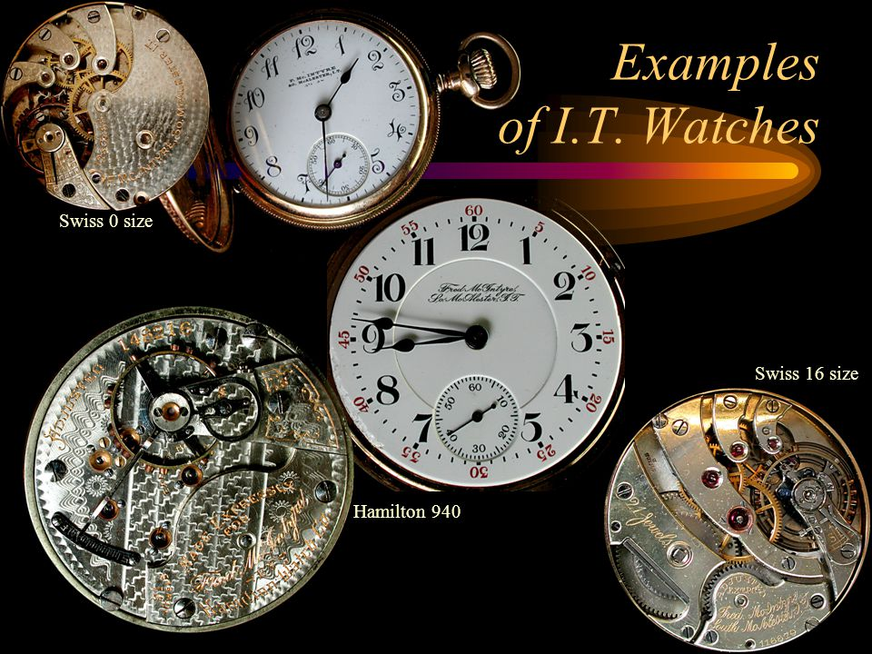 Examples of I.T. Watches Swiss 0 size Hamilton 940 Swiss 16 size