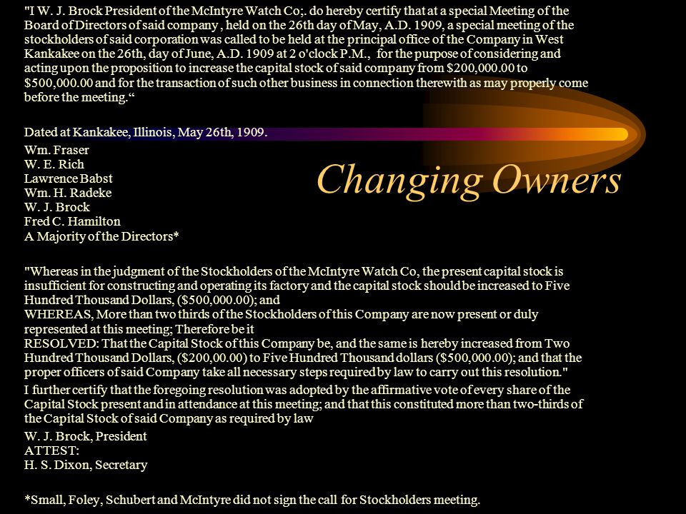 Changing Owners