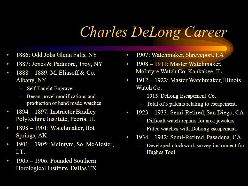 Charles DeLong Career 1886: Odd Jobs Glenn Falls, NY 1887: Jones & Padmore, Troy, NY 1888 – 1889: M. Eliasoff & Co. Albany, NY –Self Taught Engraver –