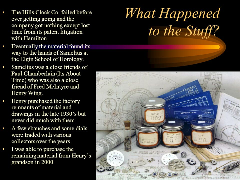 What Happened to the Stuff? The Hills Clock Co. failed before ever getting going and the company got nothing except lost time from its patent litigati