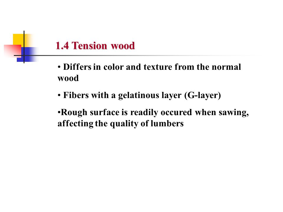 Differs in color and texture from the normal wood Fibers with a gelatinous layer (G-layer) Rough surface is readily occured when sawing, affecting the