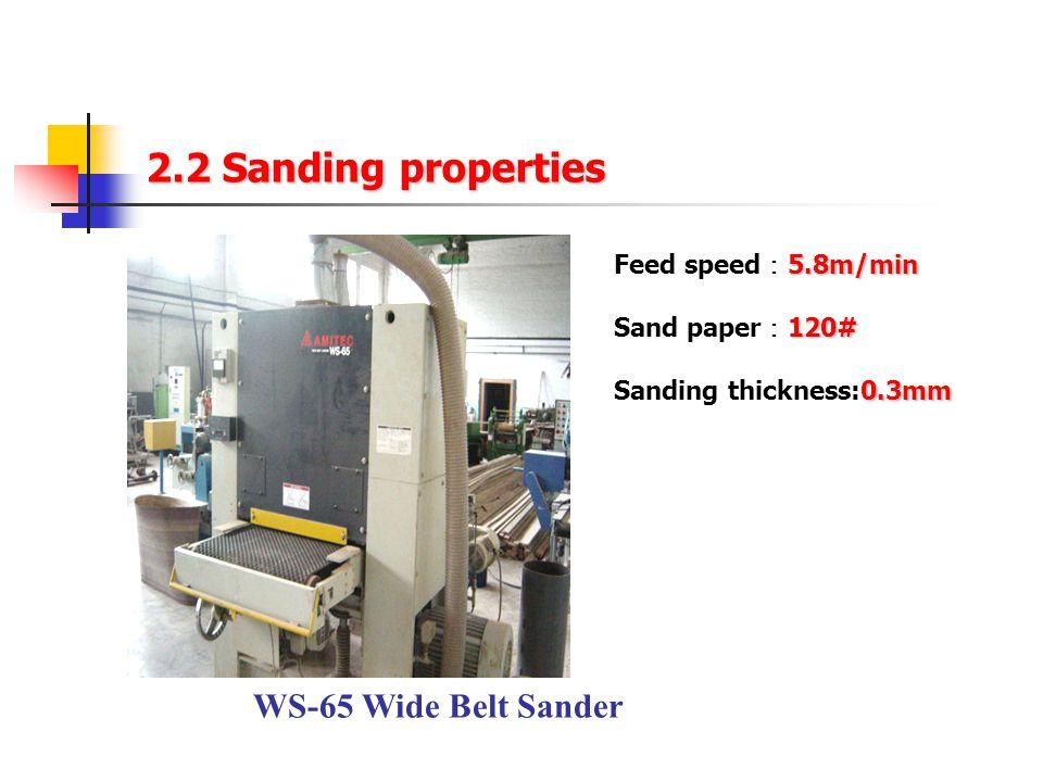 2.2 Sanding properties WS-65 Wide Belt Sander 5.8m/min Feed speed : 5.8m/min 120# Sand paper : 120# 0.3mm Sanding thickness:0.3mm