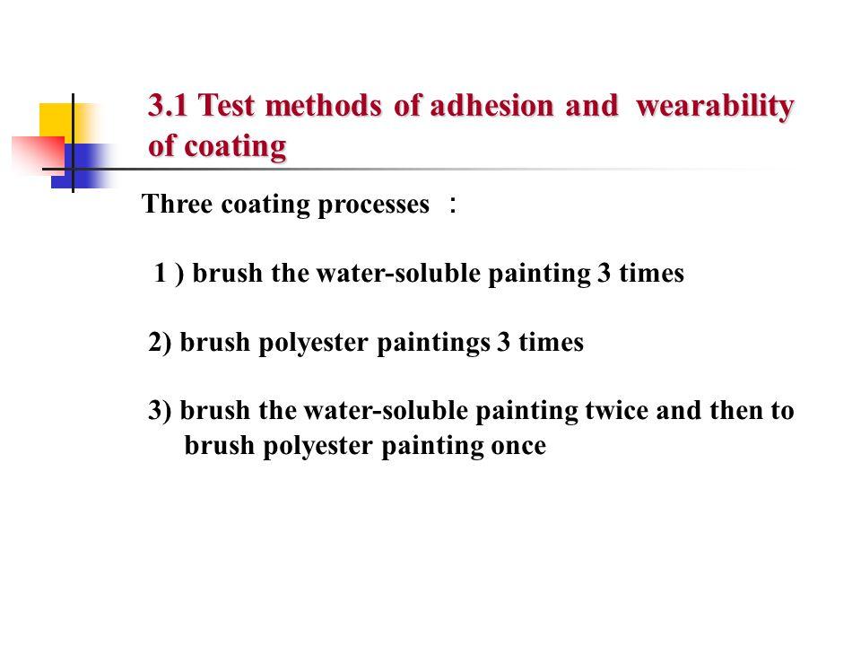 Three coating processes : 1 ) brush the water-soluble painting 3 times 2) brush polyester paintings 3 times 3) brush the water-soluble painting twice
