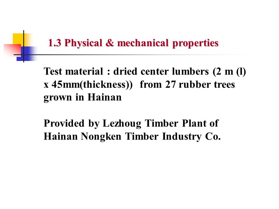 Tab.2 Physical & mechanical properties of rubberwood Density and strength : Middle Species number Air dried density g/cm 3 Compression strength parallel to the grain MPa Bending strength MPa Modulus of elasticity GPa Toughnes s kJ/m 2 Average0.65343.487.98.80725.8 Standard deviation 0.0364.83311.3511.3439.065