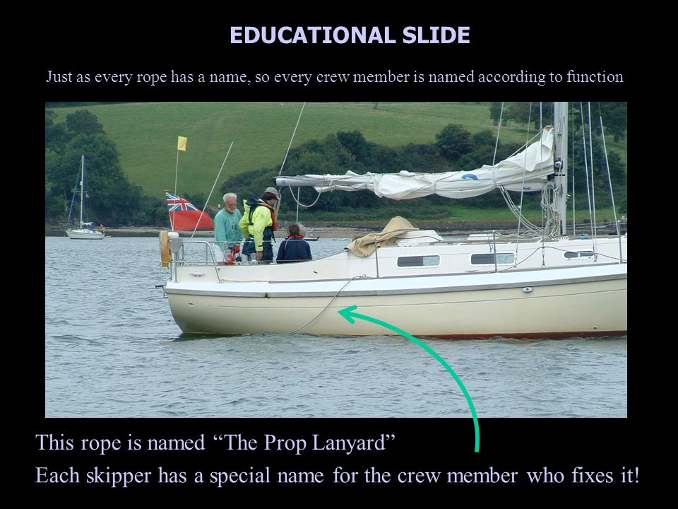 Just as every rope has a name, so every crew member is named according to function EDUCATIONAL SLIDE This rope is named The Prop Lanyard Each skipper has a special name for the crew member who fixes it!