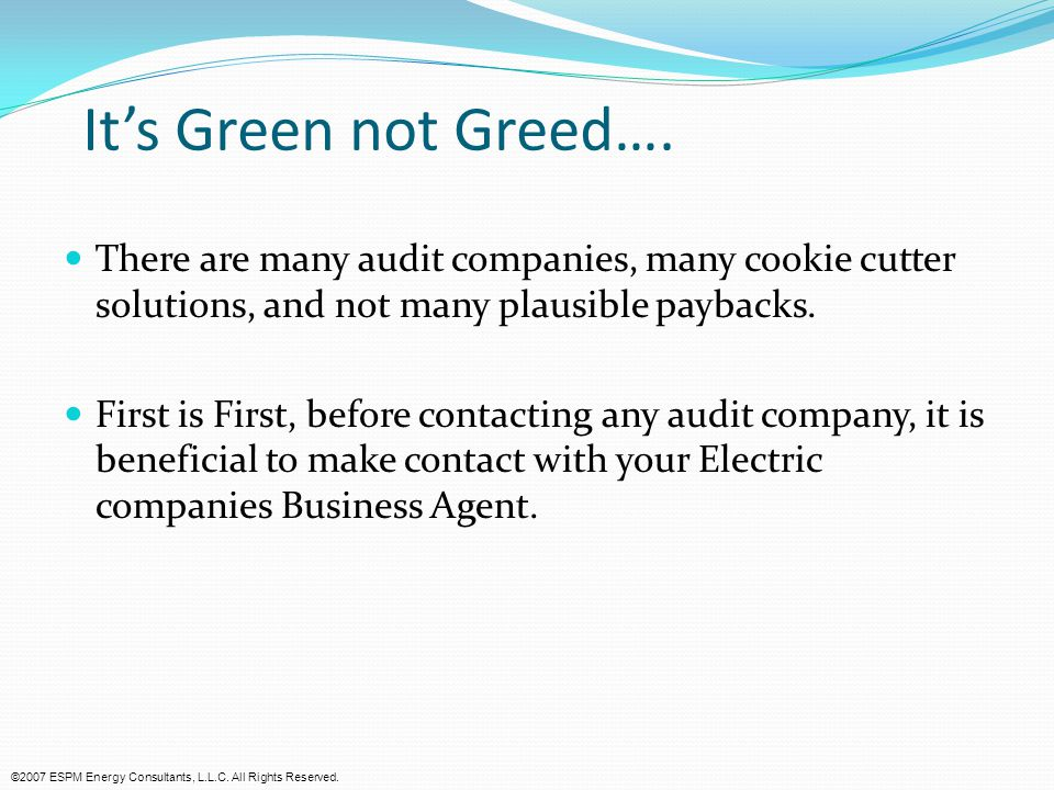 It's Green not Greed….