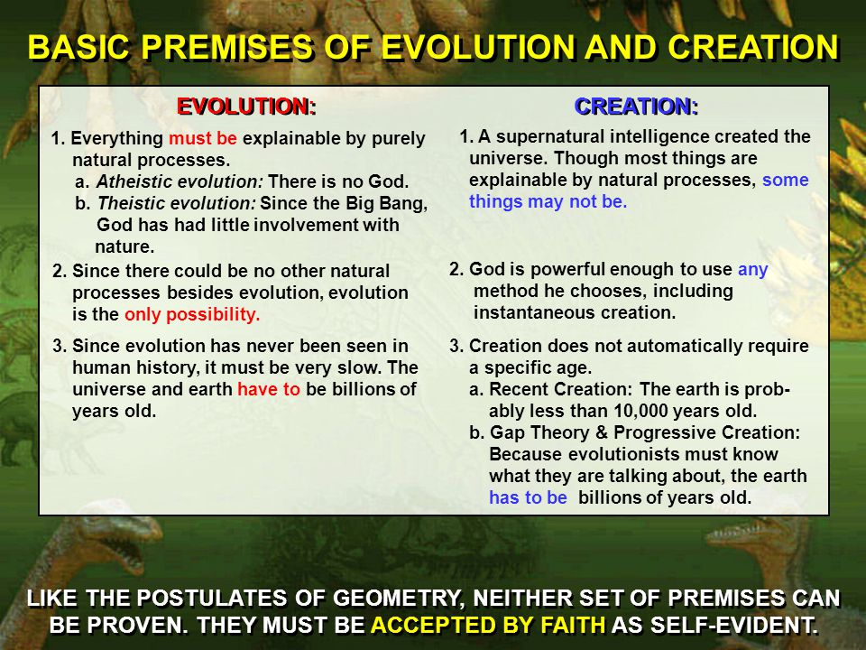 BASIC PREMISES OF EVOLUTION AND CREATION LIKE THE POSTULATES OF GEOMETRY, NEITHER SET OF PREMISES CAN BE PROVEN.