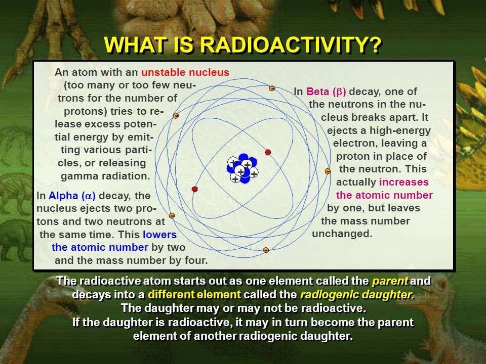 WHAT IS RADIOACTIVITY? + - - - - - - + + + + - An atom with an unstable nucleus (too many or too few neu- trons for the number of protons) tries to re