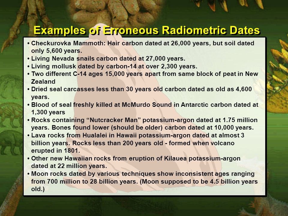 Examples of Erroneous Radiometric Dates Checkurovka Mammoth: Hair carbon dated at 26,000 years, but soil dated only 5,600 years.