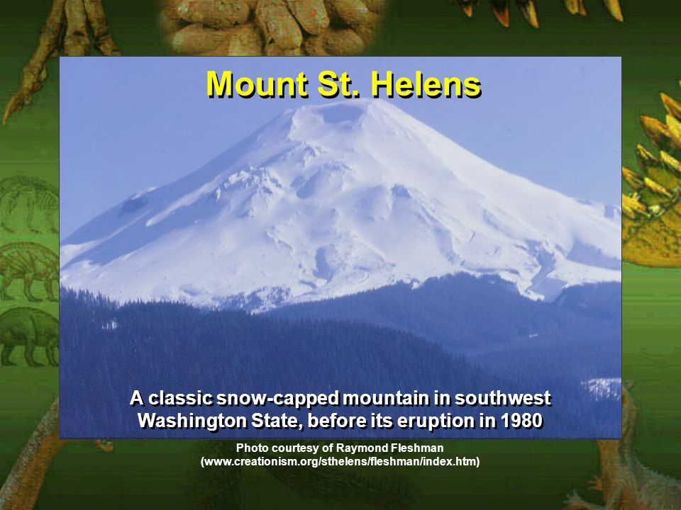 Mount St. Helens A classic snow-capped mountain in southwest Washington State, before its eruption in 1980 Photo courtesy of Raymond Fleshman (www.cre