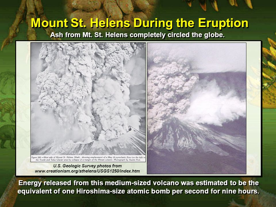Mount St. Helens During the Eruption Ash from Mt.
