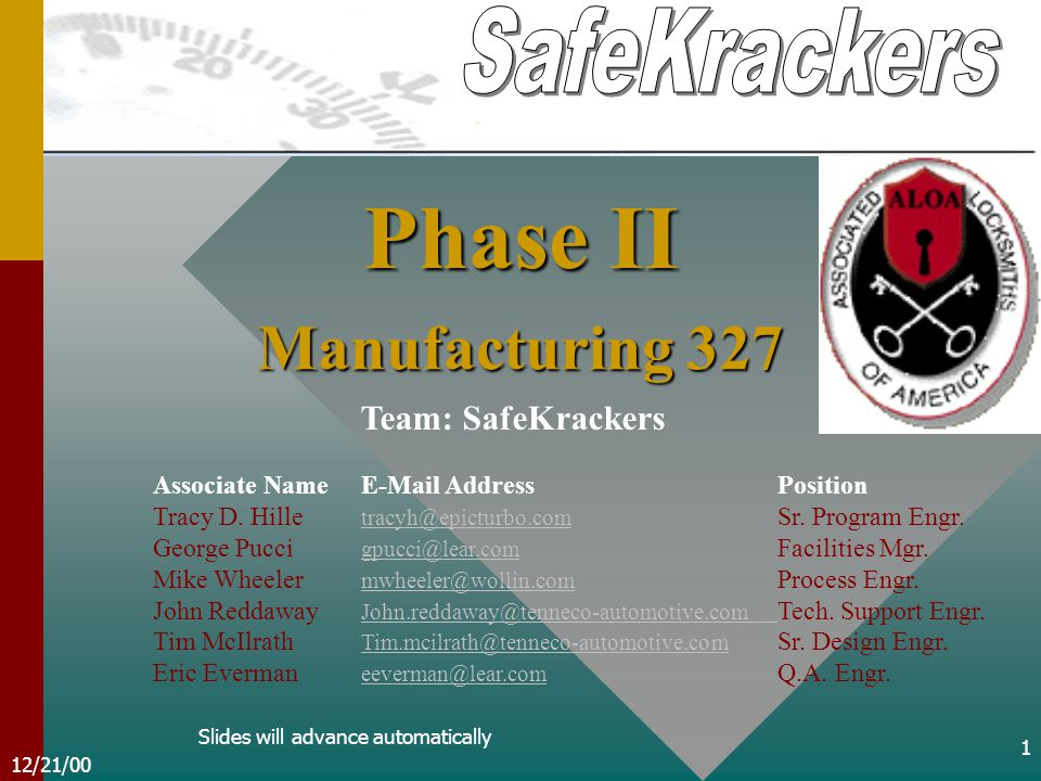 12/21/00 1 Team: SafeKrackers Associate NameE-Mail AddressPosition Tracy D.