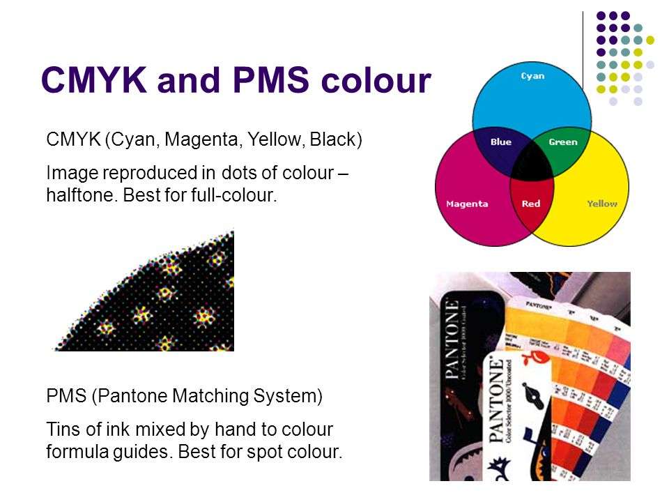 CMYK and PMS colour CMYK (Cyan, Magenta, Yellow, Black) Image reproduced in dots of colour – halftone.