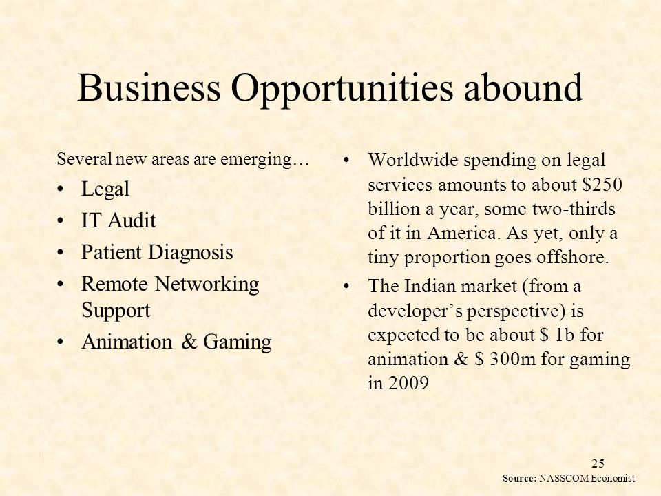 25 Business Opportunities abound Several new areas are emerging… Legal IT Audit Patient Diagnosis Remote Networking Support Animation & Gaming Worldwide spending on legal services amounts to about $250 billion a year, some two-thirds of it in America.