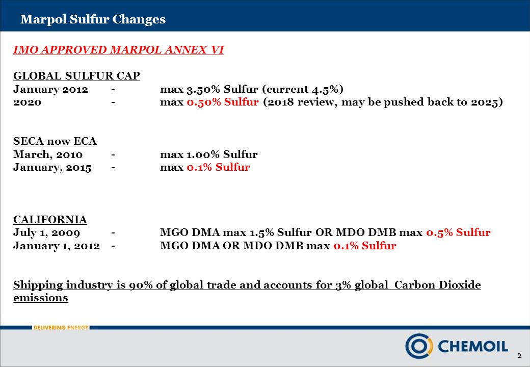 2 Marpol Sulfur Changes IMO APPROVED MARPOL ANNEX VI GLOBAL SULFUR CAP January 2012-max 3.50% Sulfur (current 4.5%) 2020-max 0.50% Sulfur (2018 review, may be pushed back to 2025) SECA now ECA March, 2010-max 1.00% Sulfur January, 2015-max 0.1% Sulfur CALIFORNIA July 1, 2009-MGO DMA max 1.5% Sulfur OR MDO DMB max 0.5% Sulfur January 1, 2012-MGO DMA OR MDO DMB max 0.1% Sulfur Shipping industry is 90% of global trade and accounts for 3% global Carbon Dioxide emissions
