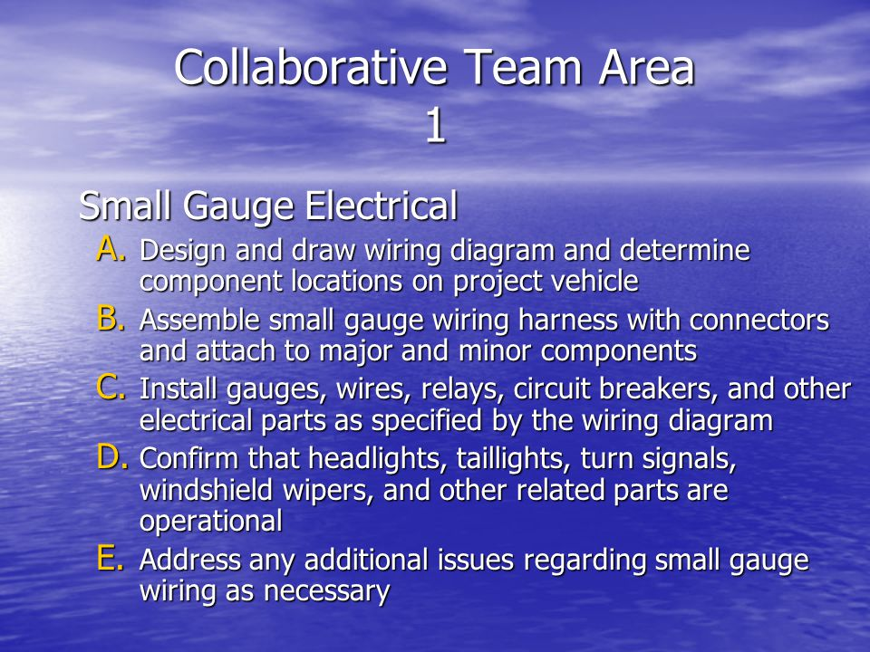 Collaborative Team Area 1 Small Gauge Electrical Small Gauge Electrical A.