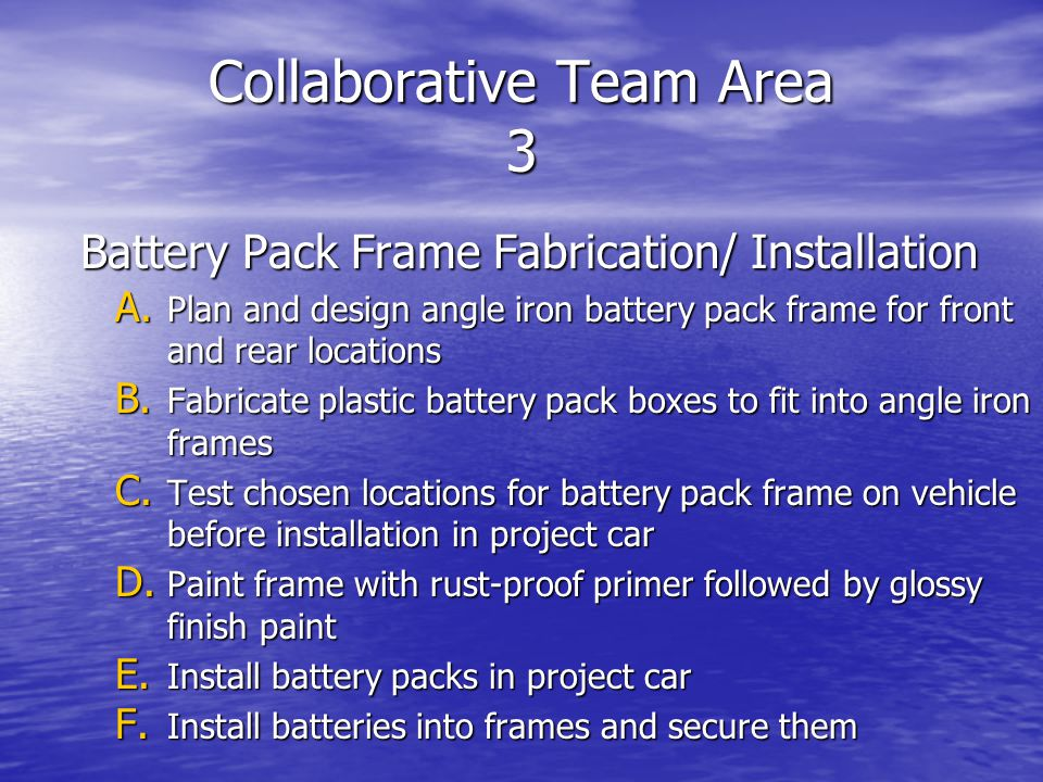 Collaborative Team Area 3 Battery Pack Frame Fabrication/ Installation A.