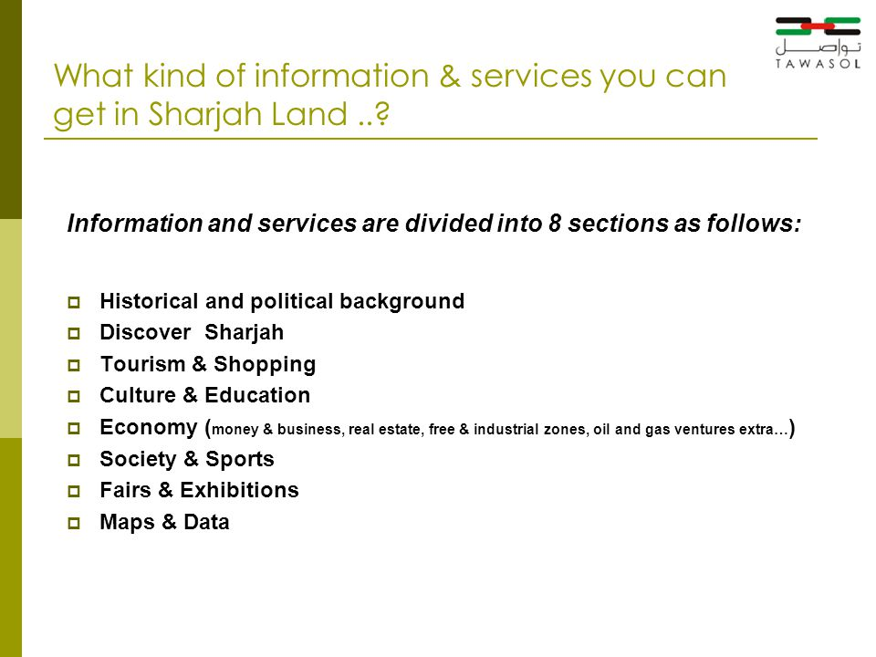 What kind of information & services you can get in Sharjah Land...