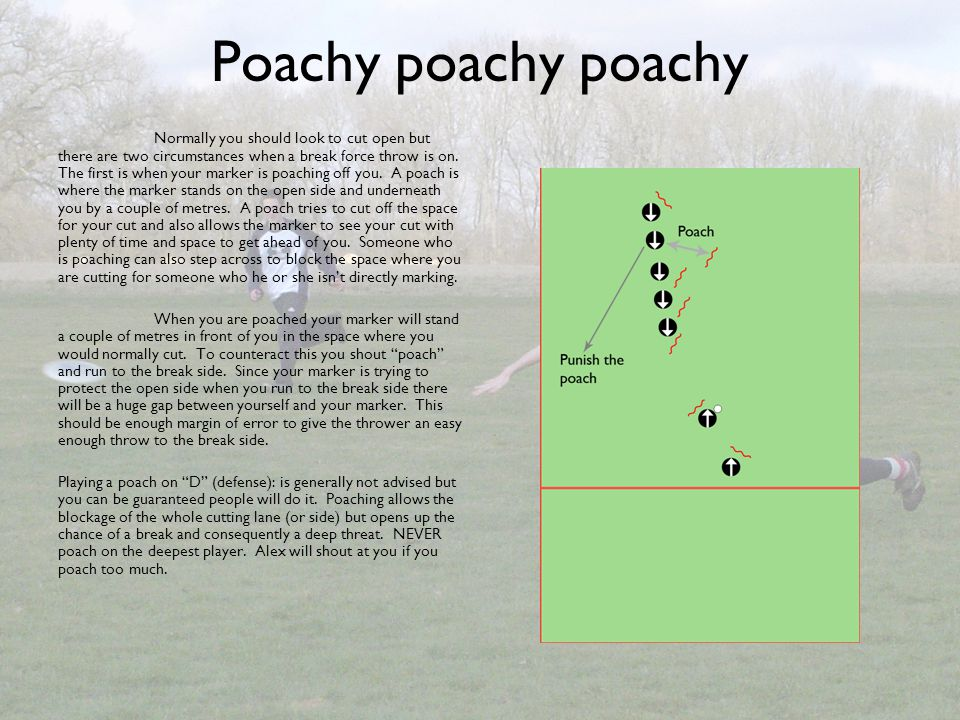 Poachy poachy poachy Normally you should look to cut open but there are two circumstances when a break force throw is on. The first is when your marke