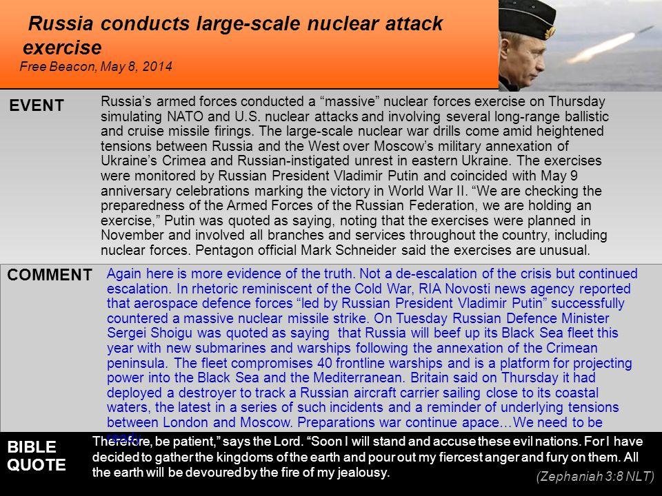 """he Russia conducts large-scale nuclear attack exercise Russia's armed forces conducted a """"massive"""" nuclear forces exercise on Thursday simulating NATO"""