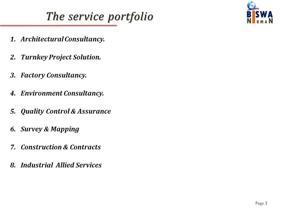 The service portfolio Page 3 1.Architectural Consultancy.