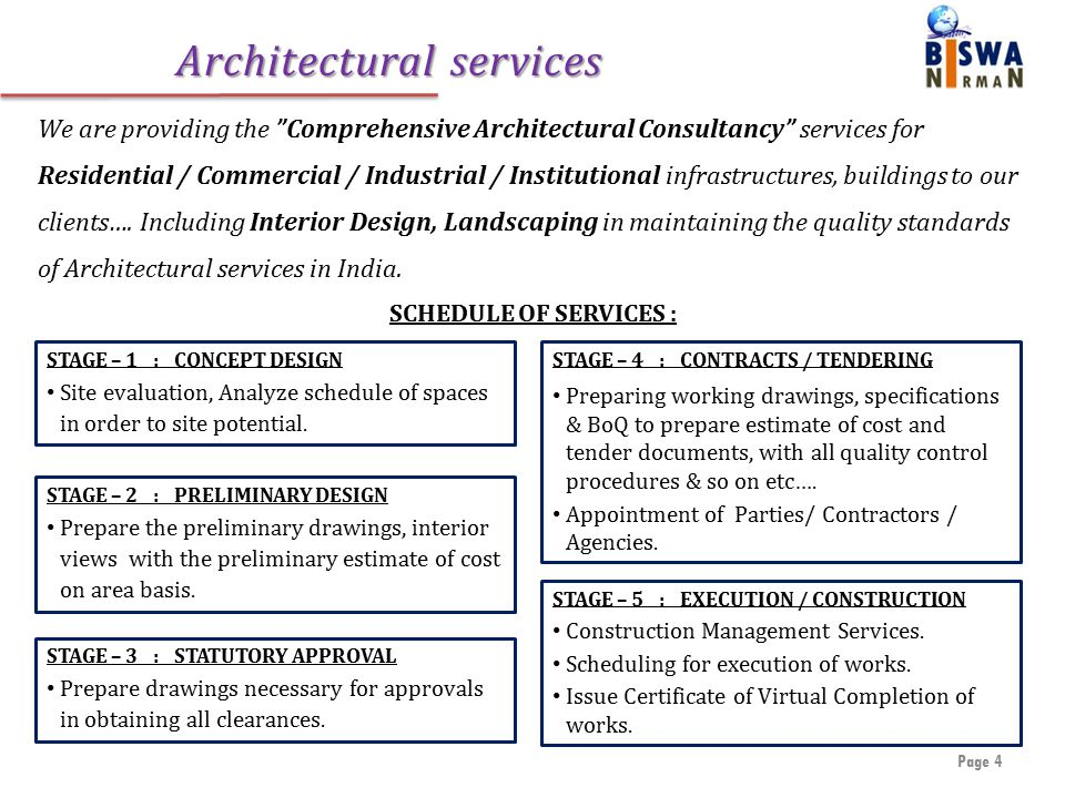 Architectural services Page 4 We are providing the Comprehensive Architectural Consultancy services for Residential / Commercial / Industrial / Institutional infrastructures, buildings to our clients….