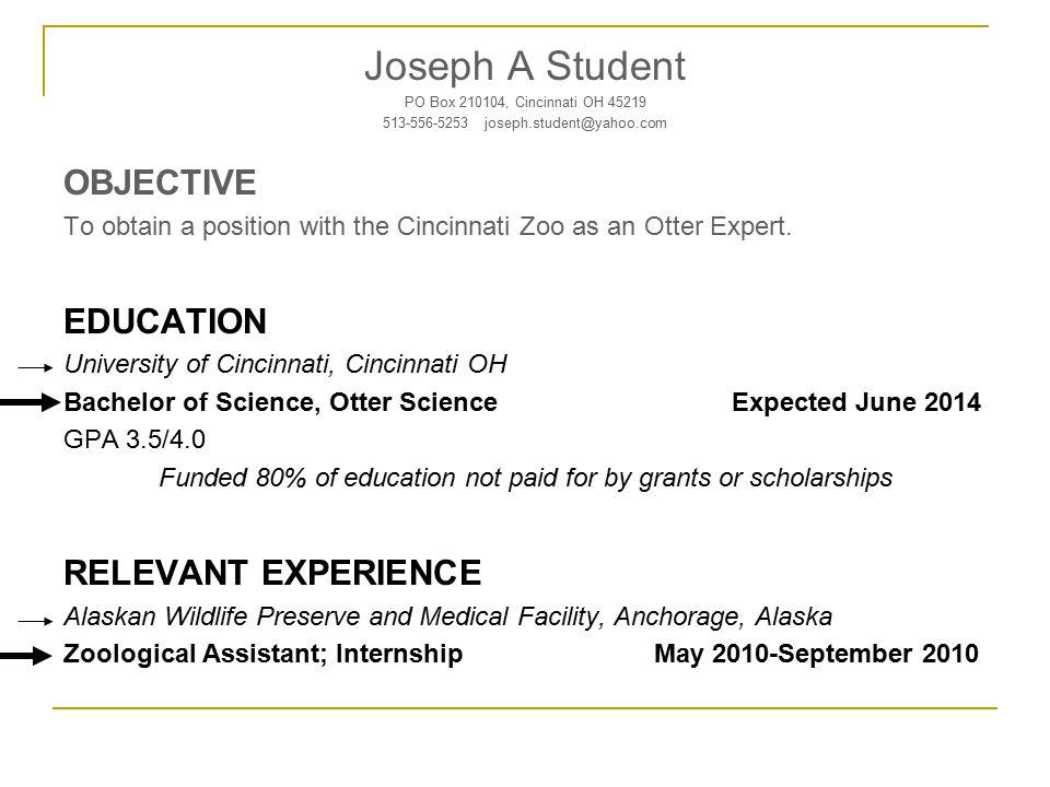Joseph A Student PO Box 210104, Cincinnati OH 45219 513-556-5253 joseph.student@yahoo.com OBJECTIVE To obtain a position with the Cincinnati Zoo as an Otter Expert.