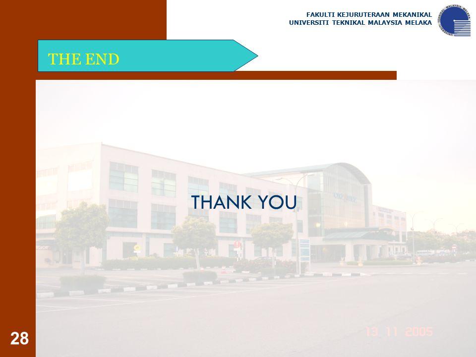 28 THE END FAKULTI KEJURUTERAAN MEKANIKAL UNIVERSITI TEKNIKAL MALAYSIA MELAKA THANK YOU