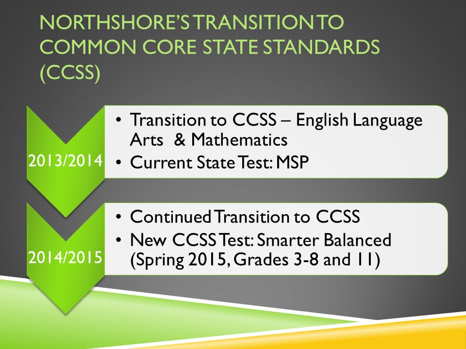NORTHSHORE'S TRANSITION TO COMMON CORE STATE STANDARDS (CCSS) 2013/2014 Transition to CCSS – English Language Arts & Mathematics Current State Test: MSP 2014/2015 Continued Transition to CCSS New CCSS Test: Smarter Balanced (Spring 2015, Grades 3-8 and 11)