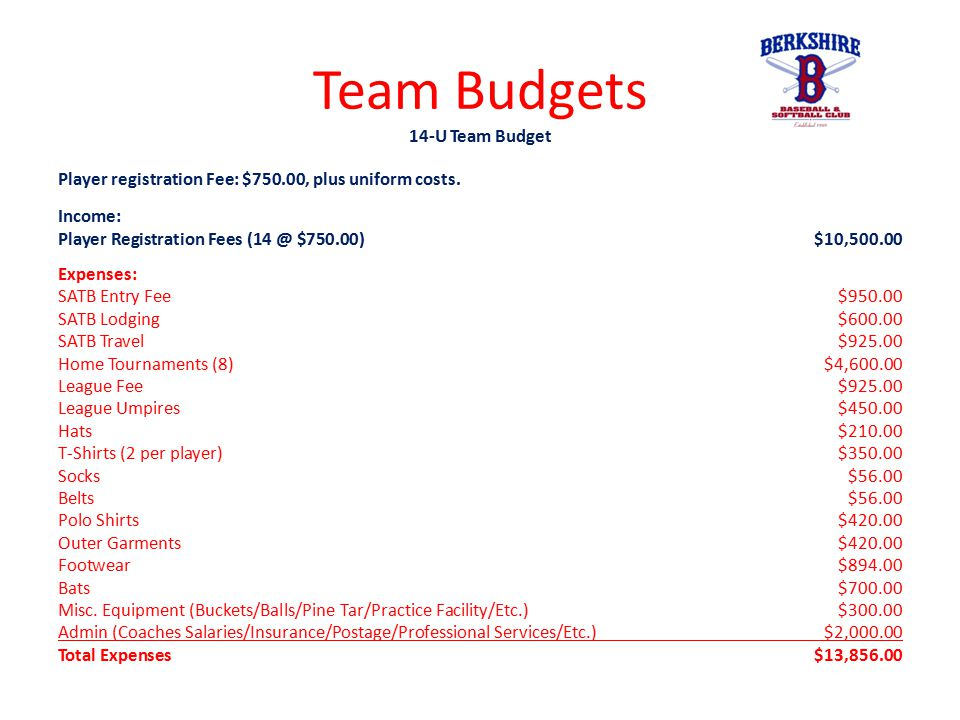 Team Budgets 14-U Team Budget Player registration Fee: $750.00, plus uniform costs. Income: Player Registration Fees (14 @ $750.00)$10,500.00 Expenses