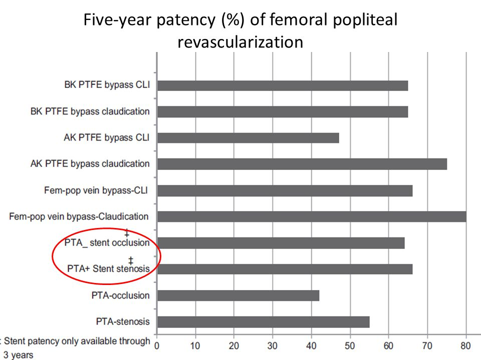Five-year patency (%) of femoral popliteal revascularization