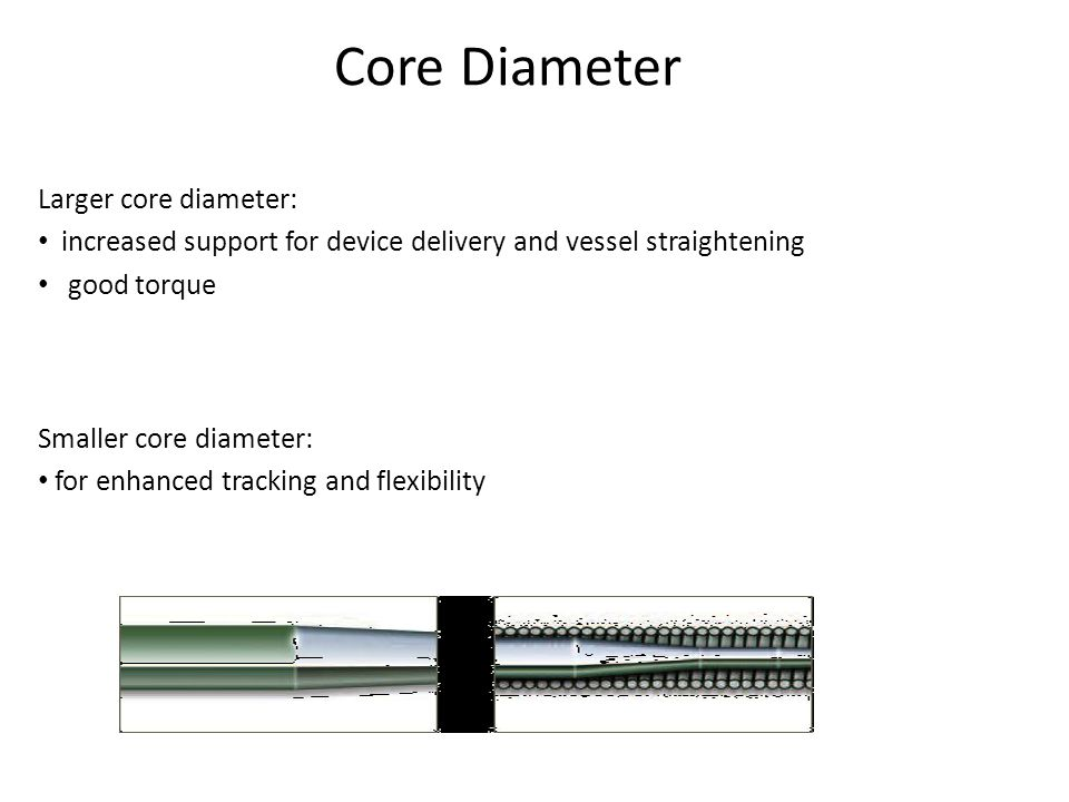 Core Diameter Larger core diameter: increased support for device delivery and vessel straightening good torque Smaller core diameter: for enhanced tra