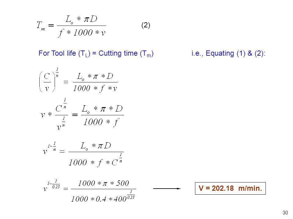 (2) For Tool life (T L ) = Cutting time (T m ) i.e., Equating (1) & (2): V = 202.18 m/min. 30