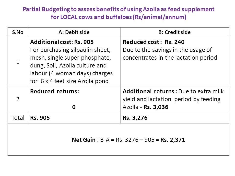 S.NoA: Debit sideB: Credit side 1 Additional cost: Rs. 905 For purchasing silpaulin sheet, mesh, single super phosphate, dung, Soil, Azolla culture an